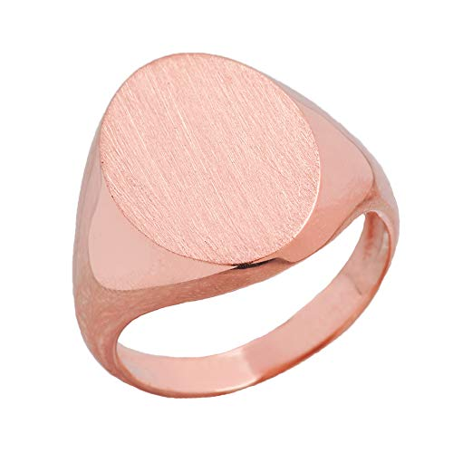 Men's Bold Engravable Oval Signet Ring in Rose 9 ct Gold PII