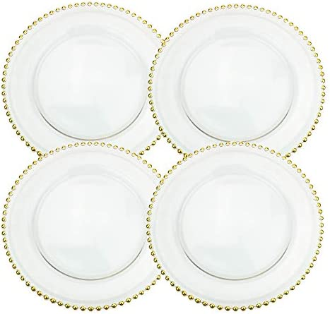 Clear glass plates with gold trim _image0