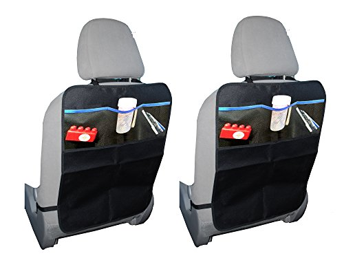 Kick Mat Protector for Carseats with Organizer Pockets | Best for Protection of Seat Back from Damage | Extra Large Fits Most Vehicles | Ideal Gift | Free 100% No Hassle Guarantee