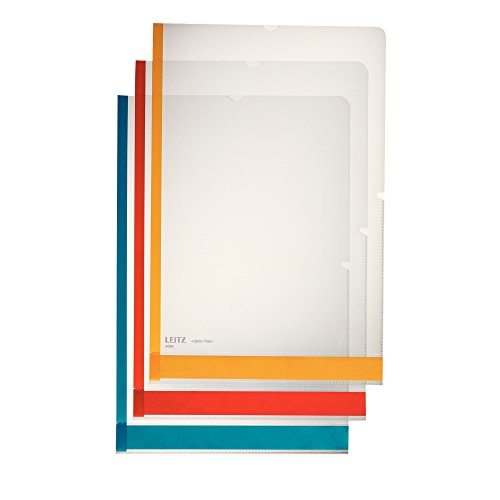 Leitz Desk Free Sichthüllen-Set, 6 Stück, A4 Format, Farblos mit matter Oberfläche, Bunte Beschriftungsstreifen und Farbkante, 0,15 mm PP-Folie, Dokumentenecht, 40803000