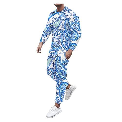 D-Rings Camicia da uomo, slim fit, per autunno e autunno, 2 pezzi, con scollo a O, a maniche lunghe, set di pantaloni lunghi, Blu, XL