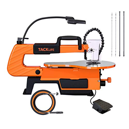 TACKLIFE Scroll Saw With Rotary Tool, TACKLIFE 16-inch, 500-1700 SPM Unique Pedal Switch, Variable Speed Scroll Saw, 4 Blades, Double Parallel Link Arms, Cast Aluminium Base, Work lamp