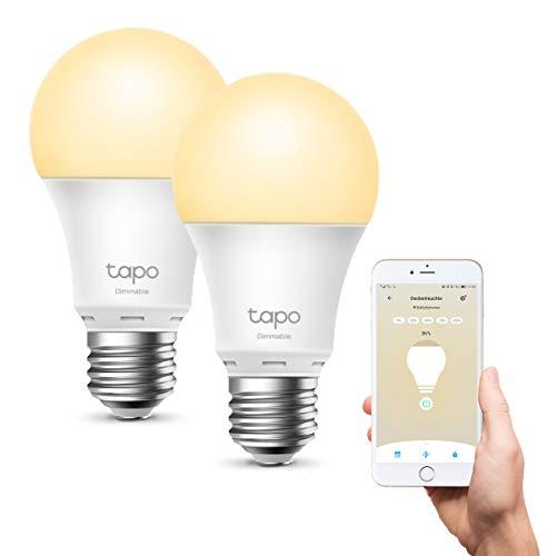 TP-Link Lampadina Wi-Fi E27, Funziona con Amazon Alexa e Google Home, 806 lumen, 8.7W, Giallo caldo dimmerabile dall' 1% al 100%, 2700 K, Controllo da remoto, confezione da 2 pezzi (Tapo L510E)