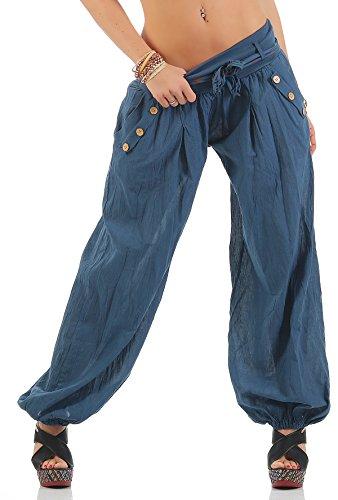 Zarmexx Haremshose Pumphose mit Gürtel Pluderhose Uni-Farben Ballonhose Aladinhose Harem Hose Sommerhose Yoga One Size