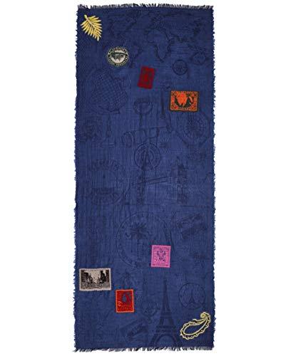 Ahujasons Damen Reise-Stempel-Wolle-Mischung-Schal Blau Ein Größe