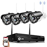 XVIM 1080P Wireless Signal Security Cameras System,Camera Need Plug to Outlet,4CH Video Security System with 4pcs 2.0 Megapixel Outdoor Wireless Surveillance Cameras 85ft Night Vision,No Hard Drive