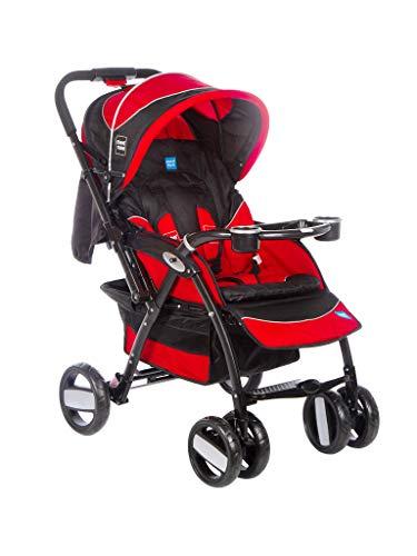Mee Mee Baby Stroller Pram | Large Seating |Reversible Handle | Feeding Tray| Fully Rotating Wheels | for Newborn Baby/Kids, 0-5 Years (Dark Red)