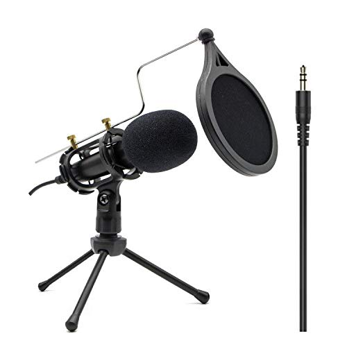 PC Computer Mikrofon, mini Kondensatormikrofon mit 3.5mm klinke Plug & Play, Handy Mikrofon und Desktop Sprachmikrofone, Aufnahme Mikrofon für YouTube Skype Online-Chatten Aufnehmen Podcasting Studio