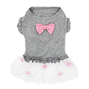 kyeese Dog Dresses Girl Bowtie Grey Dog Ruffle Dress Party Birthday Pet Apparel for Small/Medium Dogs Sundress