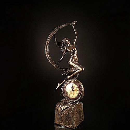 Sebasty Elegantes Artesanías Escultura Personajes Cobre Relojes Y Relojes De Resina Muebles De TV Decoraciones for El Hogar Regalos Reloj Adornos