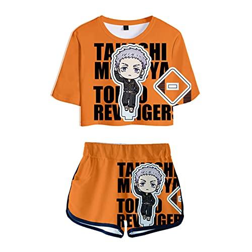Anime Tokyo Avengers Camiseta Pantalones Cortos Conjunto Mujer 2 Piezas Traje Manga Corta Ropa Verano Chica Kawaii Sexy Casual Tshirt Estampado 3D