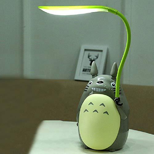 YQHWLKJ Kawaii Cartoon Totoro Lamp 3 Choice Rechargeable Table Lamp Led Night Light Reading para niños Regalo Decoración para el hogar Novedad Iluminaciones