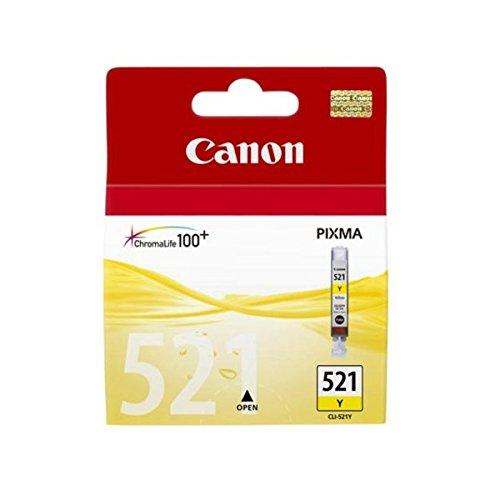 Canon CLI-521 Y Cartucho de tinta original Amarillo para Impresora de Inyeccion de tinta Pixma MX860-MX870-MP540-MP540x-MP550-MP560-MP620-MP620B-MP630-MP640-MP980-MP990-iP3600-iP4600-iP4600x-iP4700