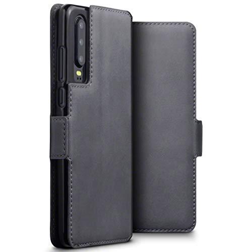 TERRAPIN, Kompatibel mit Huawei P30 Hülle, ECHT Spaltleder Börsen Tasche - Slim Fit - Betrachtungsstand - Kartenschlitze - Grau