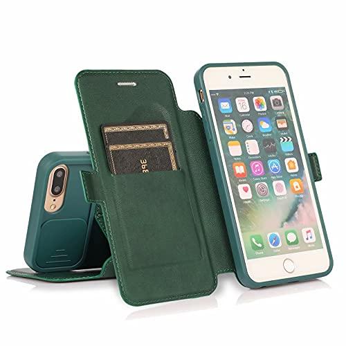Nadoli per iPhone 8 Plus/7 Plus 5.5' Pushable Finestra Portafoglio Custodia,Creativo Proteggi la Fotocamera Finestra Doppia Fibbia Pelle Slot per Schede Protettiva Cover