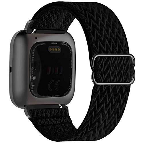Fengyiyuda Elastico Nylon Cinturino Compatibile con Fitbit Versa   Versa 2   Versa Lite Versa SE, Regolabile Cinturinio per Smartwatch Donna Uomo Sportivo di Ricambio morbido Straps,Nero