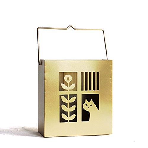 Simple Life 和風 可愛い 猫 鳥 蚊やり箱 手作り 透かし彫り 蚊取り線香入れ スチール製 吊り下げ ハンドル付き 線香スタンド インテリア 置物 線香ホルダー 3色展開 (猫 ゴールド)