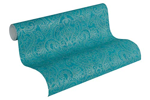 A.S. Création Vliestapete Boho Love Tapete mit Paisley Muster 10,05 m x 0,53 m metallic blau grün Made in Germany 364583 36458-3