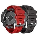 ANBEST Silikon Uhrenarmband Kompatibel mit Fenix 5/Fenix 6/Fenix 5 Plus/Fenix 6 Pro Armband Schnellspanner Armbänder Ersatzarmband Passend für Forerunner 935/945, Schwarz+Rot