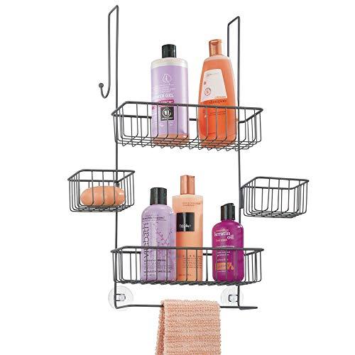 mDesign Duschregal ohne Bohren – Duschablage für Shampoo, Duschgel, Waschlappen etc. – praktische Aufbewahrung für Duschzubehör aus rostfreiem Metall – grau