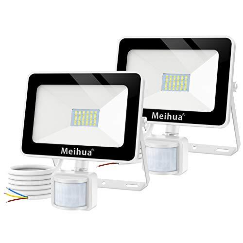 MEIHUA 25W Spots extérieur avec détecteur de présence éclairage de sécurité, Lampe à 36 LED capteur blanc du jour, éclairage murale d'extérieur étanche IP66 pour Garage, Escaliers et Jardin lot de 2