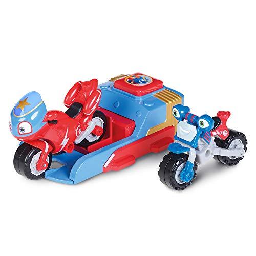 Ricky Zoom Ricky und Loop Launcher Spielset, Steel Awesome Edition mit Exklusiven Ricky & Loop Actionfiguren, Freistehende Kinder-Motorradspielzeuge für Jungen und Mädchen ab 3 Jahren