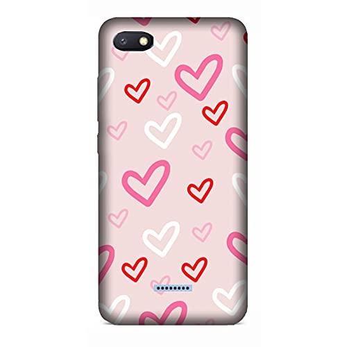 Funda Carcasa Compatible con Xiaomi Redmi 6A Fondo del corazón Rojo Rosa Blanco/Imprimir también en los Lados. / Teléfono Hard Snap en Antideslizante Anti-Rayado Resistente a los Golpes rígido