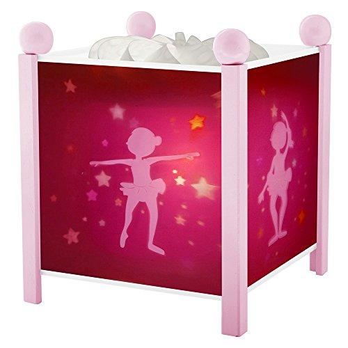 Trousselier - Ballerina - Nachtlicht - Magische Laterne - Ideales Geburtsgeschenk - Farbe Holz rosa - animierte Bilder - beruhigendes Licht - 12V 10W Glühbirne inklusive - EU Stecker