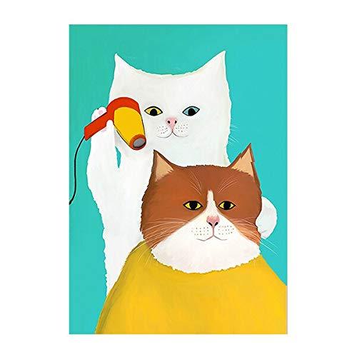 Divertidos animales de dibujos animados Gato Barbero Lienzo Pintura Estilo nórdico Decoración para niños Arte de la pared Imagen Vivero Habitación para bebés Carteles e impresiones 40x60 CM Ma