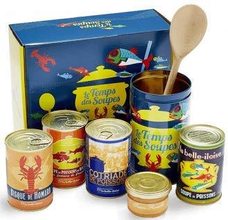 """Fischsuppenset """"Le temps des Soupes"""", Geschenkbox mit 4 Fischsuppen, Rouille, Metalldose & Kochlöffel, aus der Bretagne"""