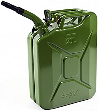 Oxid7® Jerry Can 20L Metal with Spout Funnel - for Petrol and Diesel - UN-Approved - TÜV Rheinland Certified - Pouring Time under 25 seconds - Type Inspected - Olive Green: image