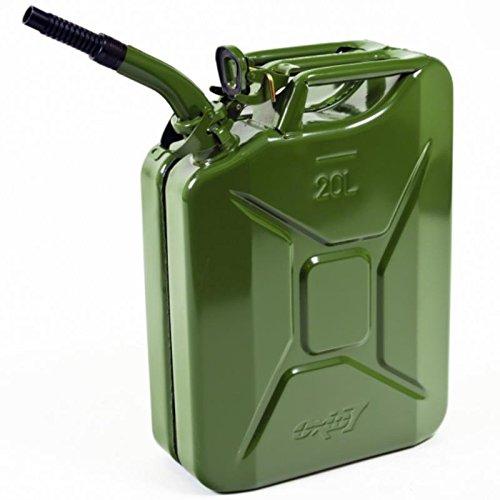 Oxid7® Bidón de Combustible Homologado de 20 Litros - Garrafa de Gasolina y Diésel en Metal con Aprobación de la ONU - Boquilla Incluida con Cierre de Seguridad - Verde Oliva
