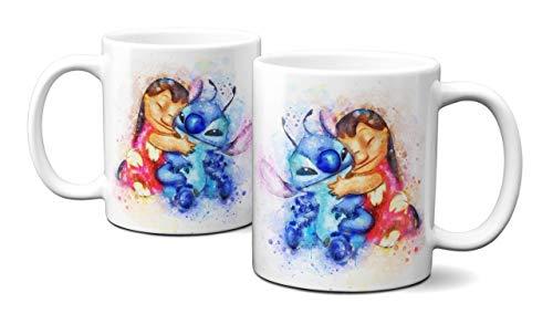 IDcaseFR MUG Tasse en ceramique Cafe - Made in France Aquarelle Pastel Ohana Stitch - Livraison Express
