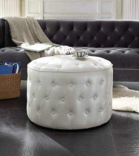 Iconic Home Marley Modern Tufted Beige Leather Round Pouf Ottoman