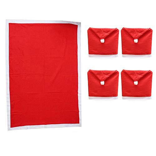 EKUPUZ - Set di 4 coprisedie natalizie + 1 tovaglia natalizia in tessuto non tessuto, per decorare la tavola di Natale (coprisedia 50 x 60 cm) (tovaglia 132 x 178 cm)