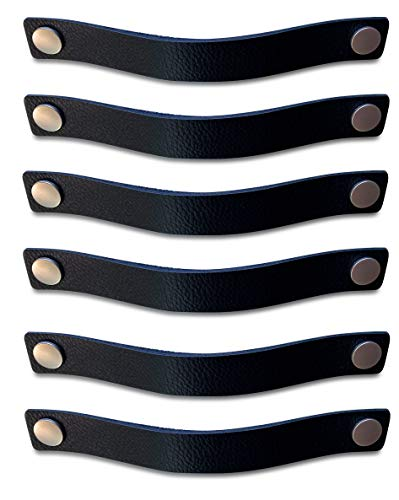 Brute Strength - Maniglie in pelle - Nero - 6 pezzi - 25 x 3 cm - include 3 colori di viti per maniglia in pelle per armadi da cucina - bagno - armadietti