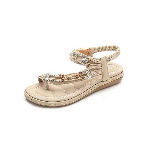 Chickwin Sandalias Mujer Planas Verano Playa, Zapatos de Bohemias Elegant Cómodos Moda Fiesta Cuero Slingback Peep Toe Talla Grandes (EU37=235mm/9.25in,Albaricoque)