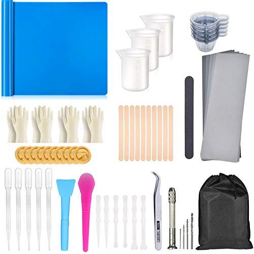 62 Pcs Resin Silikonform Wiederverwen kit, Silikonformen Harz Starterwerkzeuge Set mit Messbechern, Silikonfolie, Mischstäbchen, Pinzette, Handschuhen, Tropfpipette etc