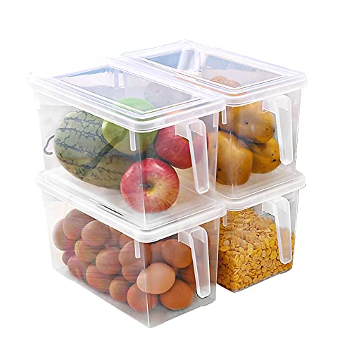 Eanpet Large Fridge Organizer Food Storage Containers Stackable Refrigerator Organizer Bins with Lids Clear Plastic Organizer Square Produce Saver for Fruits,Vegetable,Meat(Set of 4 Pack)