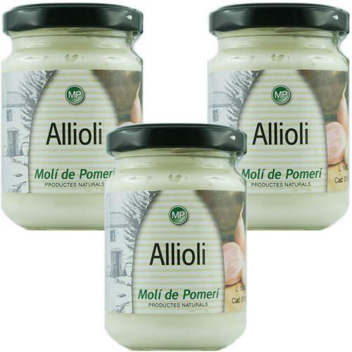 3x Molí de Pomerí Allioli mit Olivenöl 'Aioli Knoblauchmayonnaise', 140 g