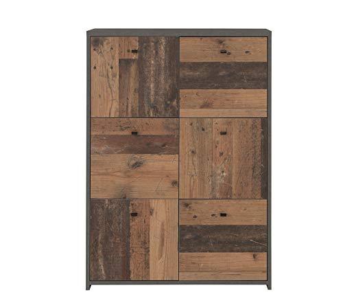 Newface – Cómoda con Seis Puertas en Moderna combinación de Colores Old-Wood Vintage Combinado con Aspecto de hormigón, Talla única