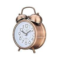 目覚まし時計 ビンテージレトロな目覚まし時計のサイレントポインター時計丸い番号デュアルベルラウドアラーム時計ベッドサイドナイトライト家の装飾 (Color : Red Bronze)
