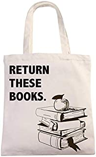 Return These Books Natural Cotton Canvas 12 Oz Reusable Hand Made Tote Bag | Library Tote for Kids | School Bag with Print...