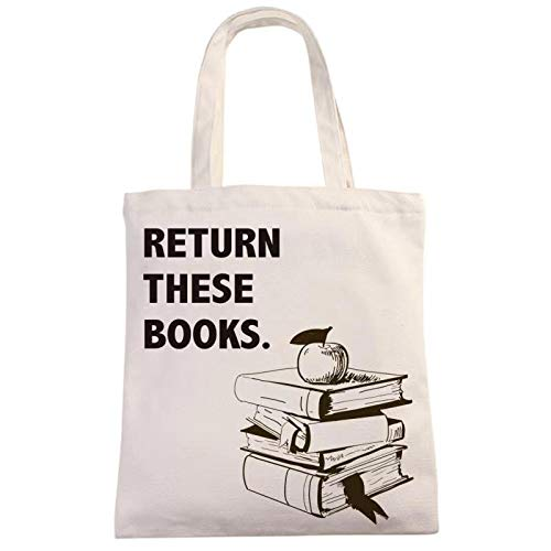 Return These Books Natural Cotton Canvas 12 Oz Reusable Hand Made Tote Bag | Library Tote for Kids | School Bag with Printed Library Book