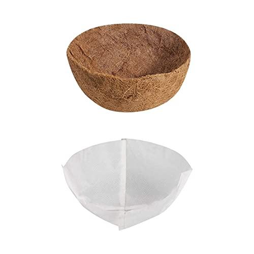 Runde Coco-Liner mit Vliesstofffutter, Coconut Liner-Ersatz-Kokosfaserfutter, Kokosnussschale in mehreren Größen und Isolierfutter für Hängekörbe reduzieren das Austreten von Boden und Wasser