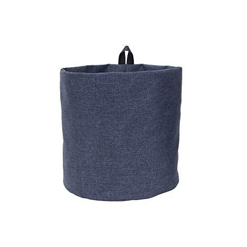 Bigso Box of Schweden Hängekorb groß – runder Wandkorb mit Schlaufe und in Leinenoptik – Aufbewahrungsbox zum Aufhängen oder Hinstellen aus Polyester und Karton – blau