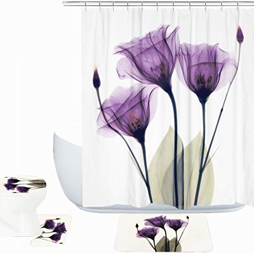 Amagical Purple Lotus Decor 15 Piece Bath Mat Set Shower Curtain Set Lotus Flower Pattern Decorative Design Bathroom Mat + Contour Mat + Shower Curtain + Hooks (15)