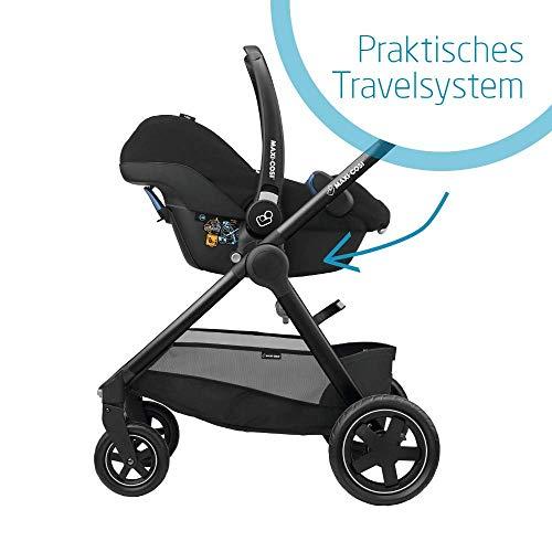 Maxi-Cosi Rock Babyschale, sicherer i-Size Kindersitz, Gruppe 0+ (0-13 kg), nutzbar ab der Geburt bis 12 Monate, black grid + FamilyFix One i-Size Basisstation