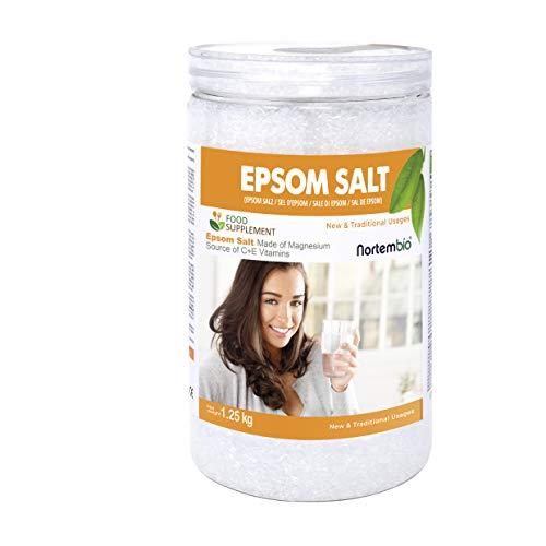 Nortembio Epsom Salz 1,25 Kg. Lebensmittelqualität. Hoher Gehalt an Magnesium. Quelle von Vitamin C und E. Gesundheit und Wellness.