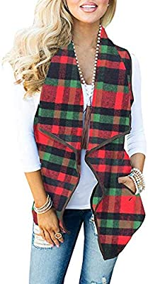 Umeko Womens Casual Lapel Open Front Plaid Vest Casual Sherpa Cardigans Jackets with Pockets (Medium, 1-Black and Red) by